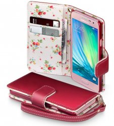 Mobilväska Galaxy A3 2017 Red Floral