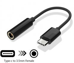 Adapter 3,5 mm till Micro USB Typ-C Svart