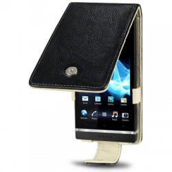 Flipväska Sony Xperia S Cow Leather Black