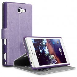 Mobilväska Xperia M2 Leather Purple Slim