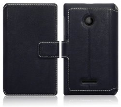 Mobilväska Microsoft Lumia 435 Leather Black Slim