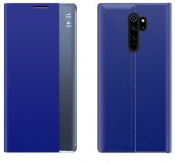 Flip Fodral Slim - Xiaomi Redmi Note 8 PRO Blå (time-view)