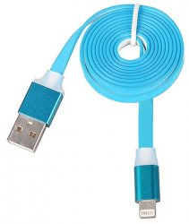 Laddkabel Lightning Blue 1 Meter Flat