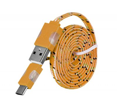 Laddkabel Micro USB TYP C Led Light Orange 1M