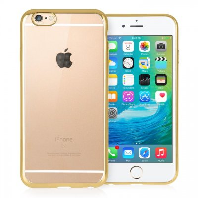 Mobilskal iPhone 6/6S Clear/Gold + Displayskydd