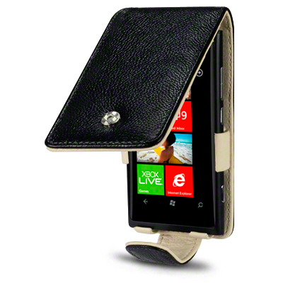Flipväska Lumia 620 Cow Leather Black