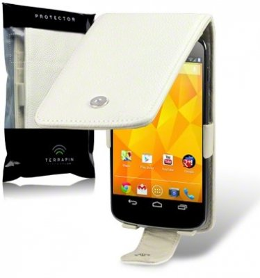 Flipväska Google Nexus 4 Cow Leather BoneWhite